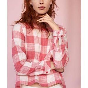 Cloth & Stone Pink Plaid Button Up Linen Top Sz PL